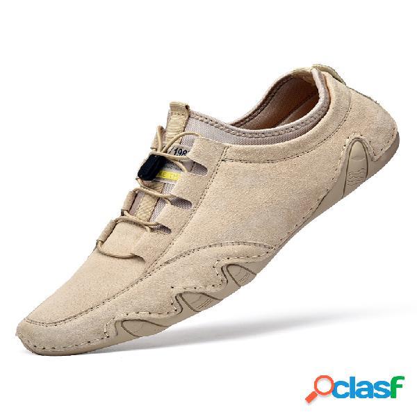 Zapatos de conducción de cuero hechos a mano con cordones soft para hombre