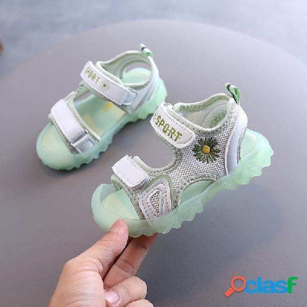 Girls daisy decor anti-kick toe jelly sole antideslizante deportes sandalias