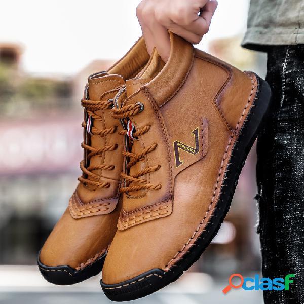Hombre cosido a mano microfibra cuero antideslizante tobillo casual botas