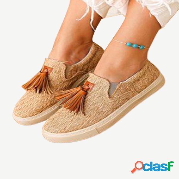 Mujer slip transpirable con decoración de borla en zapatos planos casuales