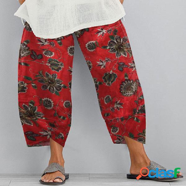 Vendimia flores estampadas cintura elástica plus tamaño pantalones