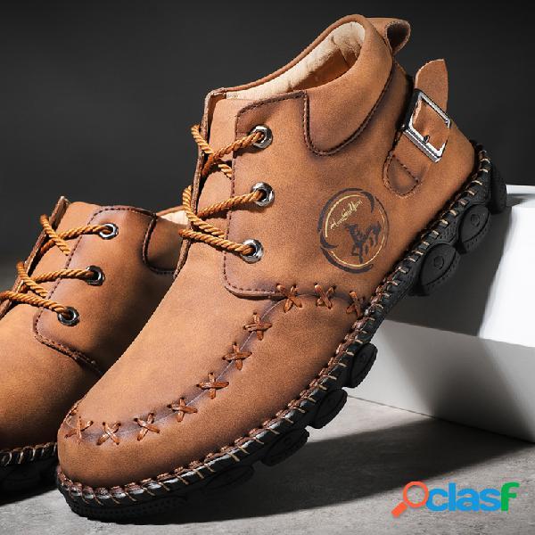 Menico hombre costura a mano hebilla de metal antideslizante cuero informal botas