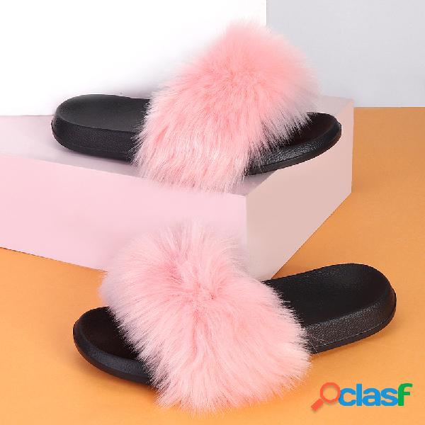 Plus tamaño mujer deslizadores antideslizantes cómodos con decoración de felpa zapatillas