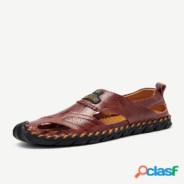 Hombres de gran tamaño mano stithcing dedo del pie cerrado al aire libre cuero sandalias