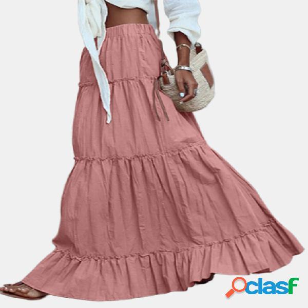 Color sólido volante cintura elástica algodón plus tamaño falda larga