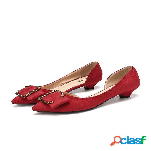 Zapatos de tacón bajo de color sólido de metal d'orsay para mujer