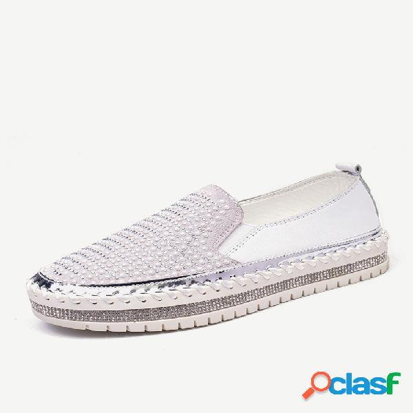 Plus tamaño rhinestone decoración braethable wearable flat casual shoes