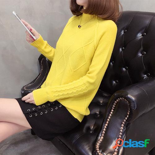 Punto inferior camisa suéter de manga larga suelta de color sólido de cuello medio de manga larga para mujer