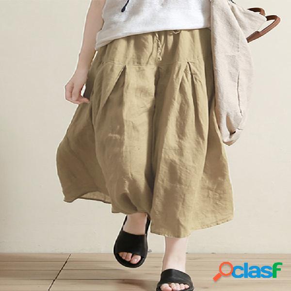 Vendimia cintura elástica color sólido plus tamaño pierna ancha pantalones