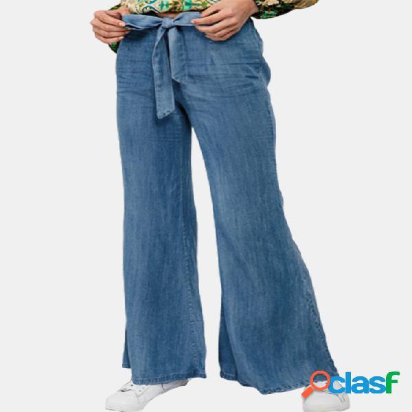 Color sólido cinturón ancho pierna plus tamaño denim pantalones