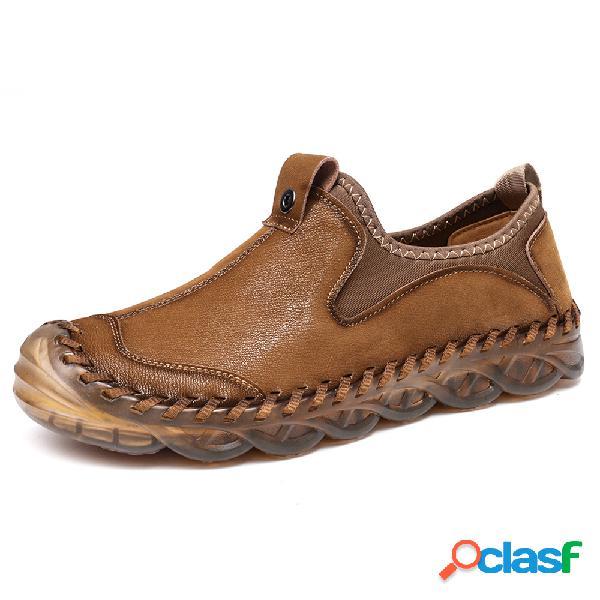 Menico hombre antideslizante costura a mano antideslizante zapatos de cuero soft