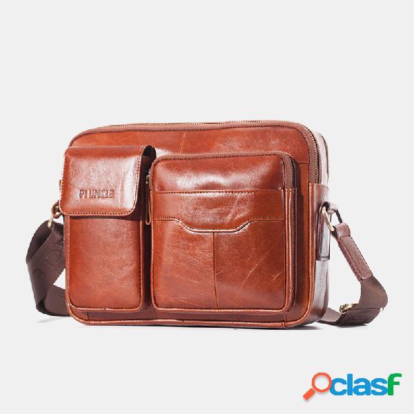Bolso de mano para hombre piel genuina laptop bolsa crossbody bolsa