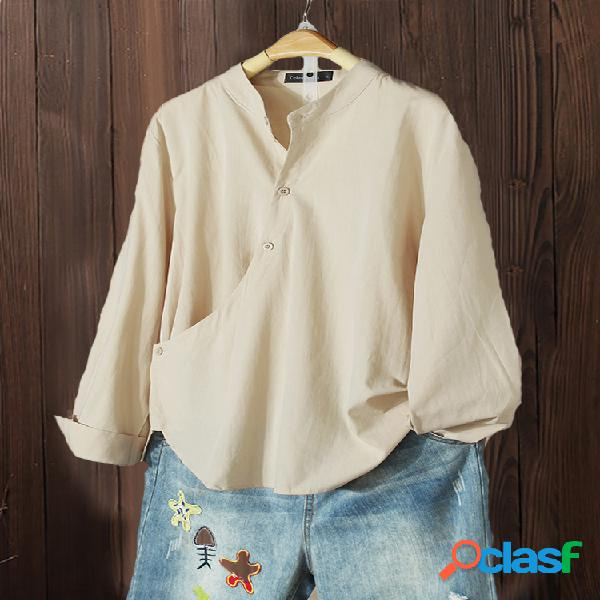 Botón irregular de color sólido plus tamaño vendimia camisa