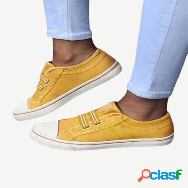 Mujer lona elástica de gran tamaño banda zapatos planos cómodos y cómodos