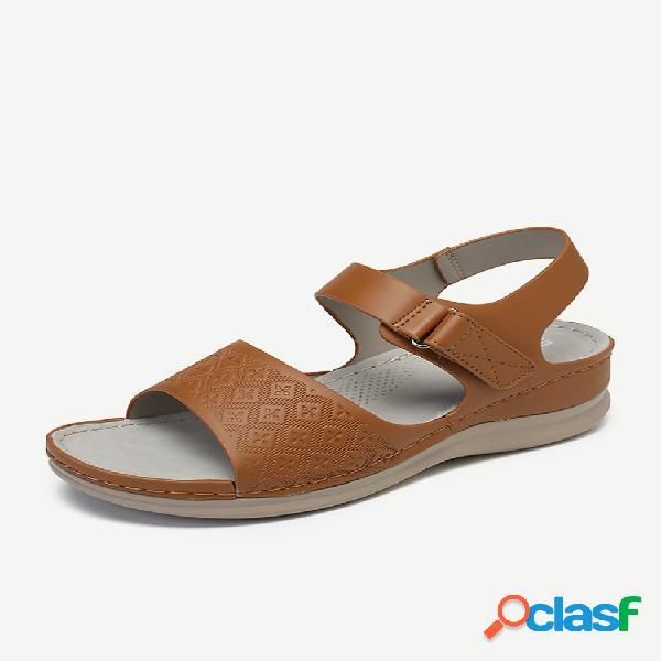 Mujer peep toe de color liso gancho cuñas informales con lazo sandalias
