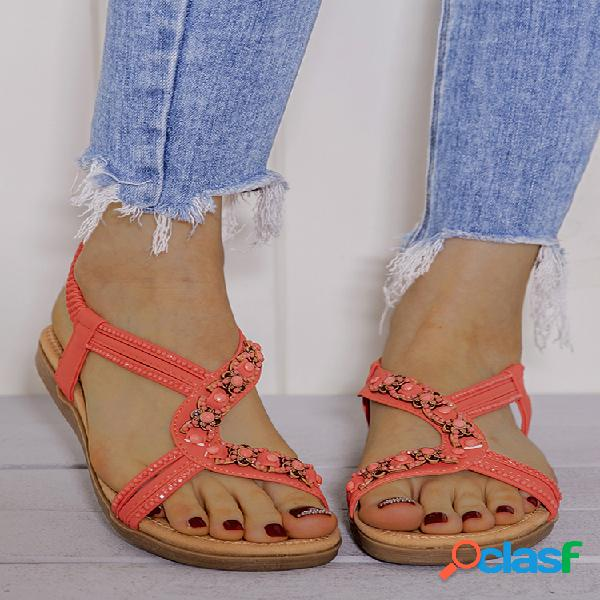 Lostisy cuenta decor comfy open toe flat elastic sandalias
