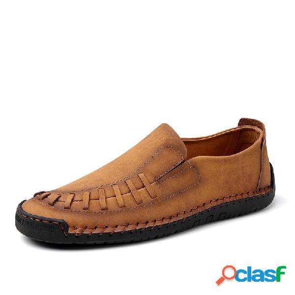 Mocasines para hombre cosidos a mano soft zapatos de cuero de microfibra