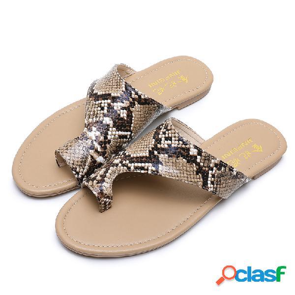 Tallas grandes mujer toe ring flats con estampado de piel de serpiente zapatillas