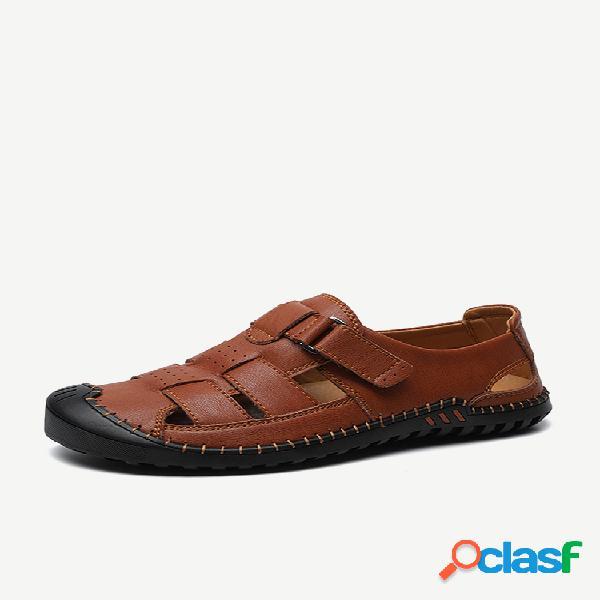 Hombre piel de vaca costura a mano antideslizante soft suela casual sandalias