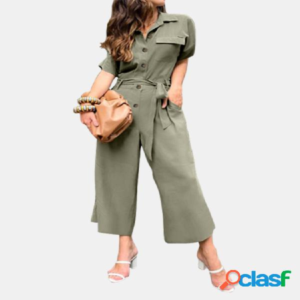 Color sólido cintura cinturón solapa manga corta plus tamaño mono con bolsillos