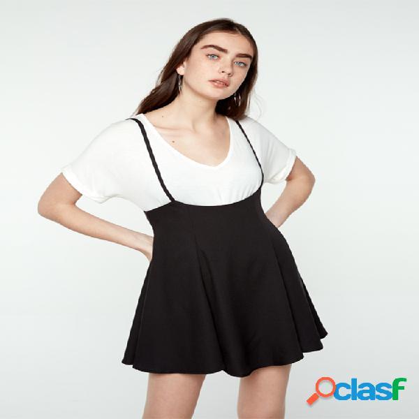 Color sólido correa sphagetti mini plus tamaño vestido