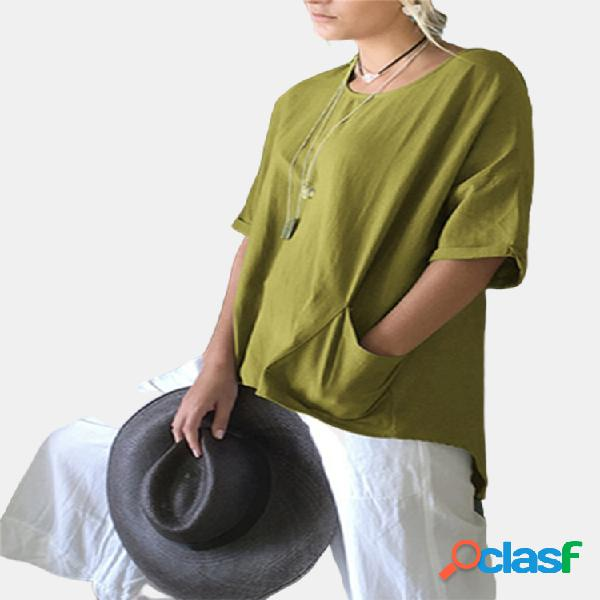 Color sólido laminado en manga o-cuello plus tamaño camiseta con bolsillo