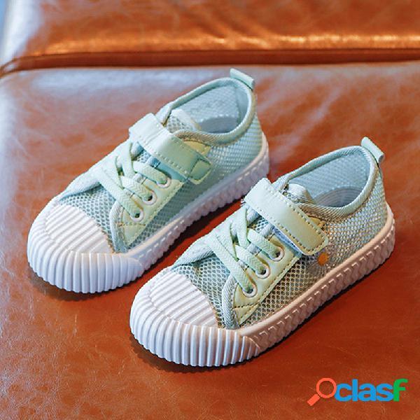 Zapatos unisex para niños daisy decor mesh comfy gancho loop casual