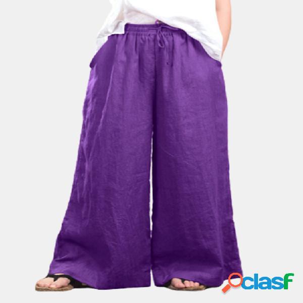Cordón de color sólido suelto plus tamaño pierna ancha pantalones