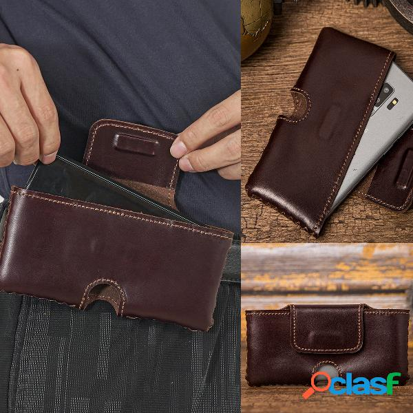 Hombre edc piel genuina retro 6.5 inch soporte para teléfono funda para cintura cinturón bolsa