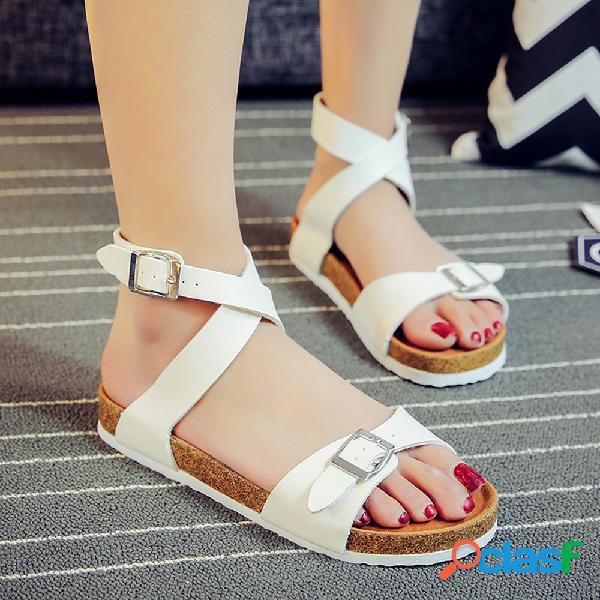 Mujer correa de hebilla cruzada de color sólido soft sandalias