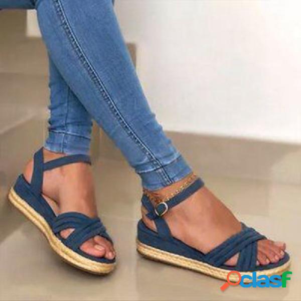 Mujer cross banda alpargata casual cómoda para vestir sandalias