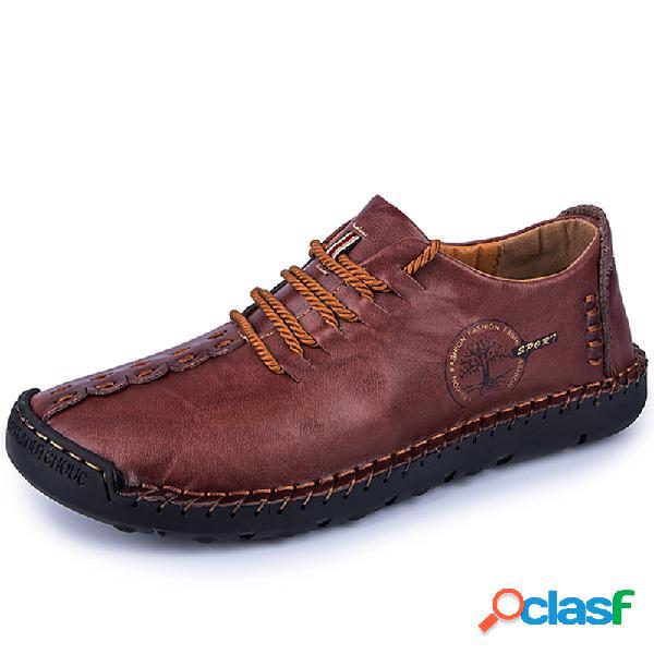 Hombre costura a mano antideslizante soft zapatos de cuero casuales con suela