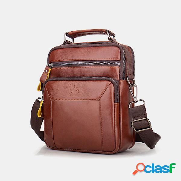 Hombre piel genuina bandolera multifunción multibolsillos bolsa bolso sling bolsa