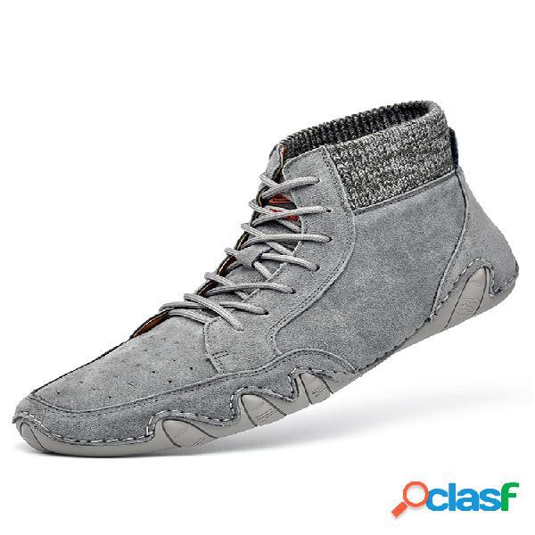 Hombre transpirable soft calcetín de cuero con cordones tobillo botas
