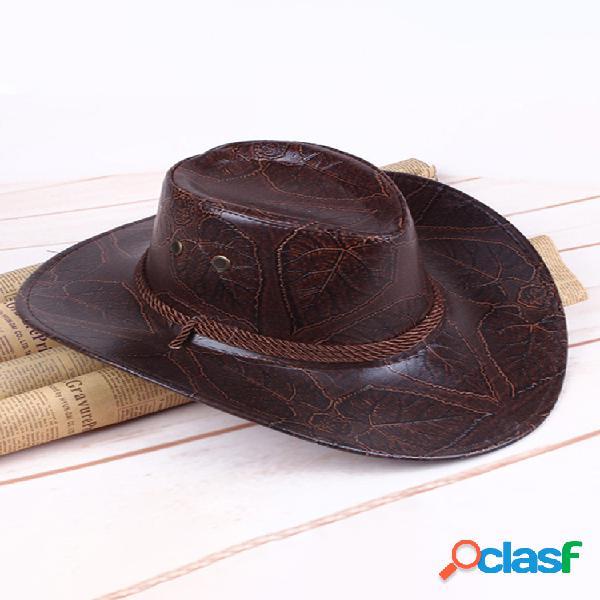 Hombres mujer cuero artificial occidental cowboy knight sombrero al aire libre ala ancha sombrero - rojo