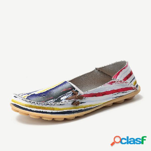 Tamaño grande colorful patrón slip on lazy soft zapatos planos casuales cómodos con suela
