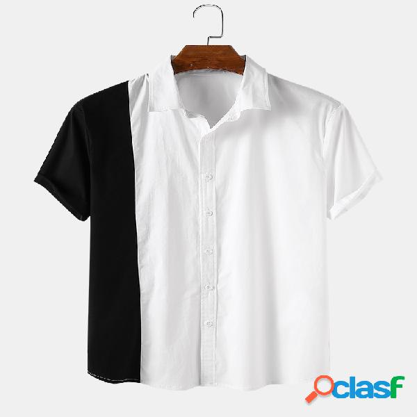 Hombre costura asimétrica casual manga corta camisa