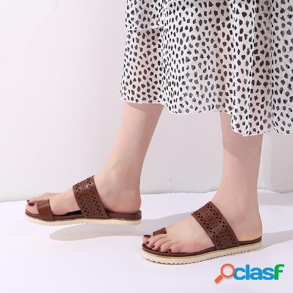 Plus tamaño mujer playa puntera hueca transpirable soft plana zapatillas