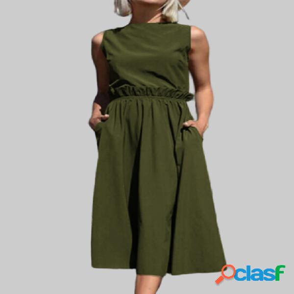 Color sólido sin mangas plus tamaño vestido para mujer
