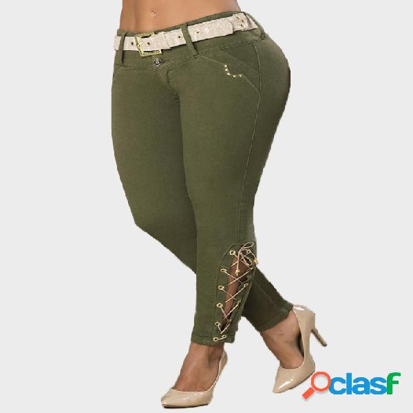 Color sólido cintura cinturón cónico plus tamaño pantalones
