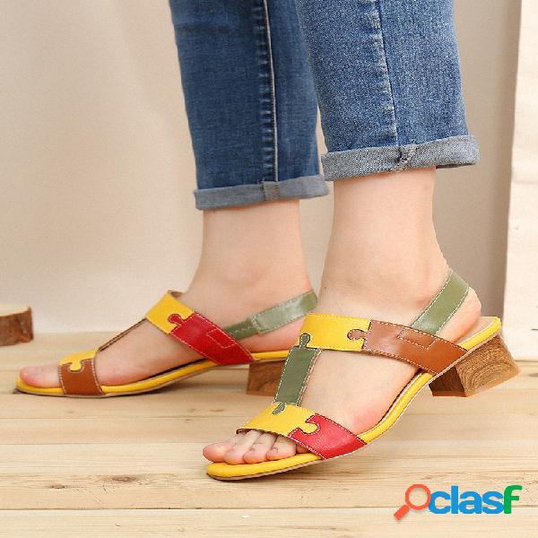 Lostisy bloque de color forma de t punta abierta elástico banda tacón grueso sandalias