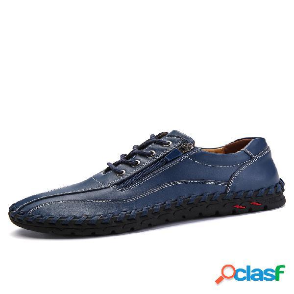 Menico hombres de gran tamaño de los hombres cosido a mano cremallera lateral zapatos de cuero casuales
