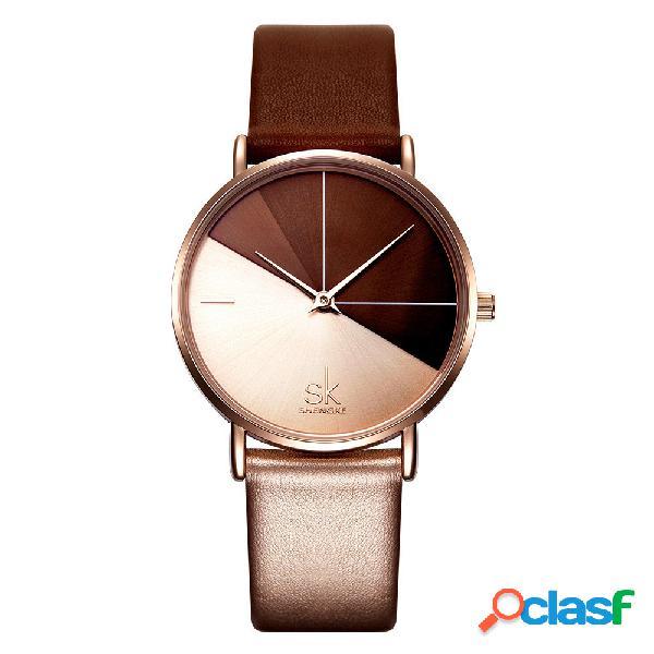 Mujer moda de reloj de cuarzo de cuero banda irregular reloj reloj de esfera de doble color