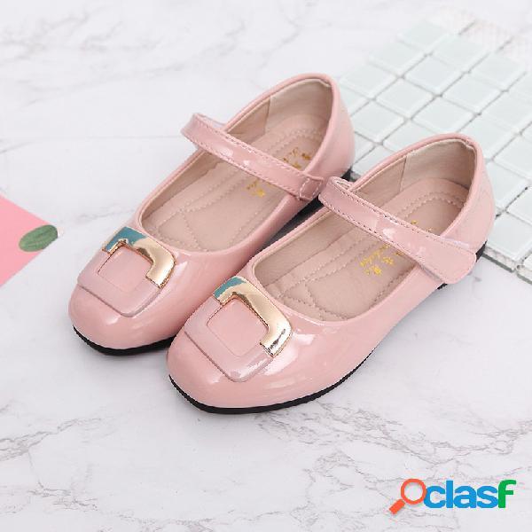 Girls square decor gancho loop elegant mary jane shoes
