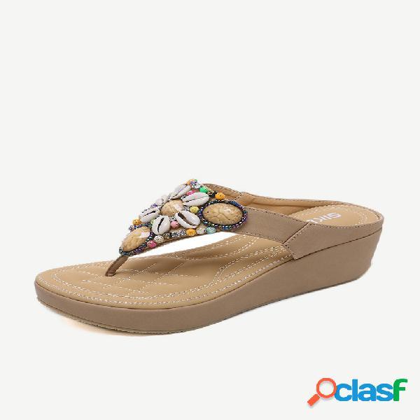Mujer cuñas bohemias de gran tamaño sandalias playa zapatos
