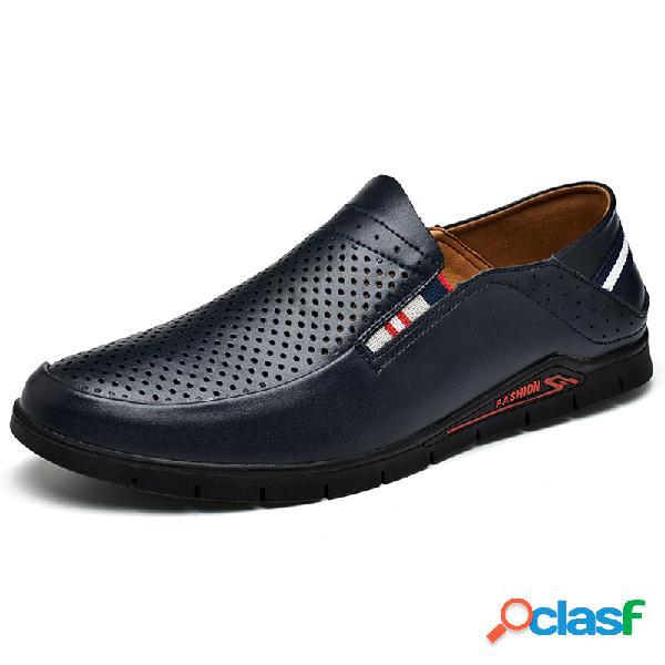 Resbalón antideslizante transpirable para hombres sin cordones en zapatos de cuero casuales
