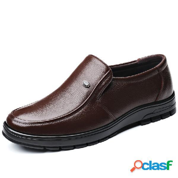 Hombre classic comfort soft zapatos de cuero informales formales de negocios sin cordones