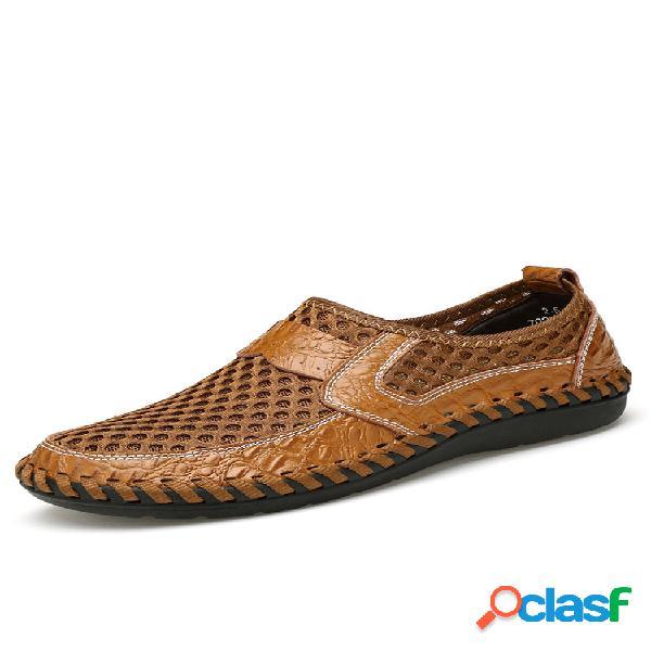 Para hombres con puntadas de malla de panal slip on mocasines transpirables al aire libre casuales zapatos