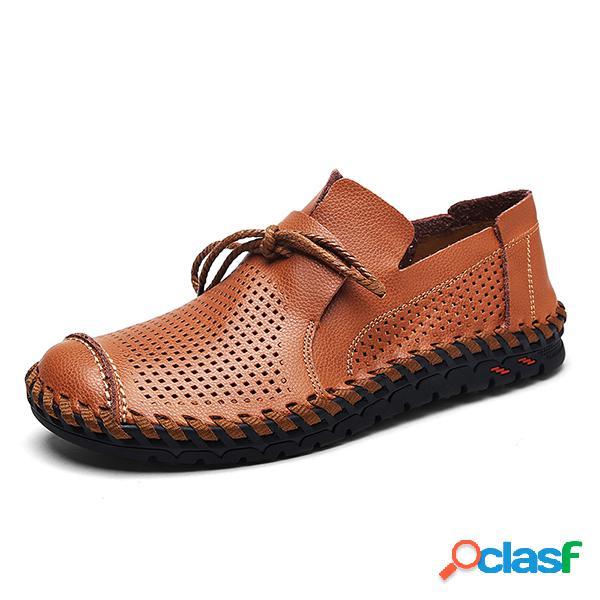 Hombre costura a mano transpirable ahuecado soft suela al aire libre zapatos casuales