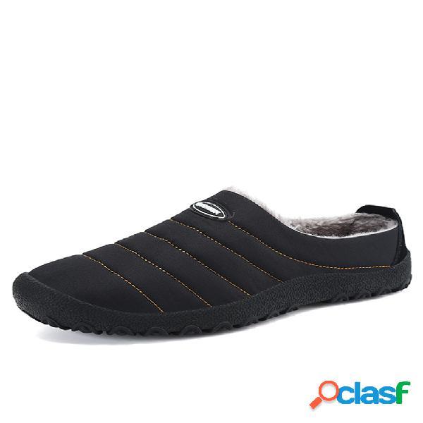 Slippers casuales de tela impermeable con forro de peluche con suela cómoda slip on para hombres